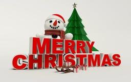 Texto de la Feliz Navidad 3d, muñeco de nieve, trineo, y alta resolución del regalo Foto de archivo libre de regalías