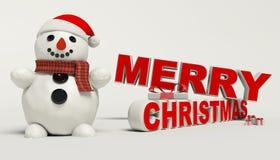 Texto de la Feliz Navidad 3d, muñeco de nieve, trineo, y alta resolución del regalo Imagenes de archivo
