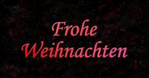 Texto de la Feliz Navidad en alemán Frohe Weihnachten en la parte posterior del negro Imágenes de archivo libres de regalías