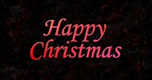 Texto de la feliz Navidad en fondo oscuro Foto de archivo libre de regalías