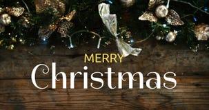 Texto de la Feliz Navidad y decoración 4k de la Navidad almacen de video