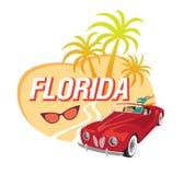 Texto de la Florida con el ejemplo del vector de las palmeras y muchacha en coche convertible rojo libre illustration