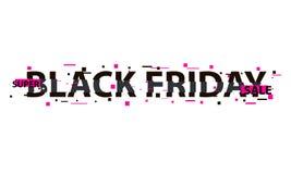 Texto de la interferencia de Black Friday Efecto del anáglifo 3D Fondo retro tecnológico Concepto en línea de las compras Venta,  libre illustration