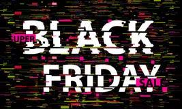 Texto de la interferencia de Black Friday Efecto del anáglifo 3D Fondo retro tecnológico Concepto en línea de las compras Venta,  stock de ilustración