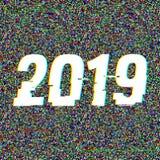 texto 2019 de la interferencia Concepto del Año Nuevo Efecto del anáglifo 3D Fondo retro tecnológico Ilustración del vector creat stock de ilustración