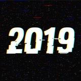 texto 2019 de la interferencia Concepto del Año Nuevo Efecto del anáglifo 3D Fondo retro tecnológico Ilustración del vector creat libre illustration