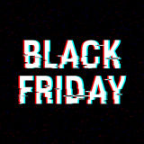 Texto de la interferencia de Black Friday Efecto del anáglifo 3D Fondo retro tecnológico Concepto en línea de las compras Venta,  Imagen de archivo
