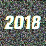 texto 2018 de la interferencia Efecto del anáglifo 3D Fondo retro tecnológico Ilustración del vector Modelo creativo del Web Avia Fotografía de archivo libre de regalías