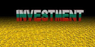 Texto de la inversión con la bandera búlgara en el ejemplo de las monedas ilustración del vector