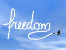 Texto de la libertad del humo biplan - 3D rinden Fotografía de archivo libre de regalías