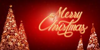 Texto de la luz de la Feliz Navidad en fondo rojo Foto de archivo