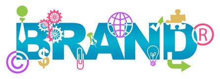 Texto de la marca con símbolos coloridos Foto de archivo