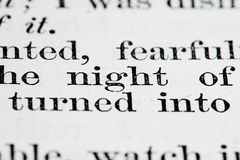 Texto de la noche Fotos de archivo