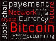 Texto de la nube de la palabra de Bitcoin Fotografía de archivo libre de regalías