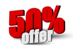 texto de la oferta 3d del 50% ilustración del vector