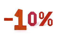 Texto de la papiroflexia de la venta del descuento el 10 por ciento Fotos de archivo libres de regalías