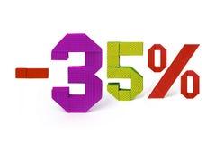 Texto de la papiroflexia de la venta del descuento el 35 por ciento Fotografía de archivo libre de regalías