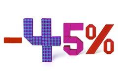 Texto de la papiroflexia de la venta del descuento el 45 por ciento Foto de archivo libre de regalías