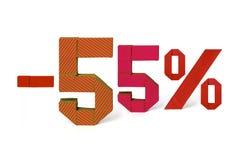 Texto de la papiroflexia de la venta del descuento el 55 por ciento Fotografía de archivo libre de regalías