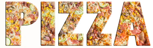 Texto de la pizza Foto de archivo libre de regalías