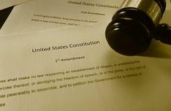 Texto de la Primera Enmienda fotografía de archivo libre de regalías