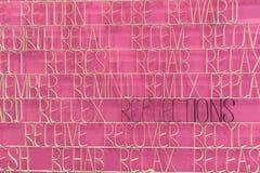 Texto de la reflexión en un fondo rosado Imagen de archivo