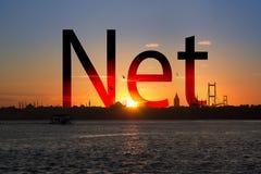 Texto de la silueta en la puesta del sol Imagen de archivo libre de regalías
