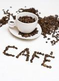 Texto de la taza de café - ?café? Imagen de archivo
