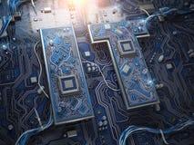 Texto de la tecnología de la información las TIC en la forma de chips de ordenador con el CP foto de archivo