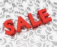 Texto de la venta con la muestra de dólar Imagen de archivo libre de regalías