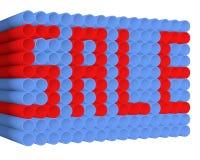 Texto de la venta en los tubos del PVC Imagen de archivo libre de regalías