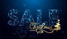 Texto de la venta de la Navidad para la promoción con las decoraciones en fondo azul ilustración del vector