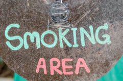 Texto de la zona de fumadores Foto de archivo libre de regalías