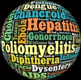 Texto de las enfermedades contagiosas Info Fotos de archivo libres de regalías
