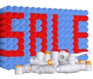 Texto de las guarniciones y de la venta en los tubos del PVC Foto de archivo