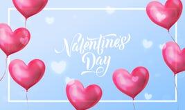 Texto de las letras de día de las tarjetas del día de San Valentín en corazón rojo de la tarjeta del día de San Valentín en fondo Fotos de archivo
