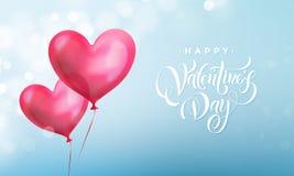 Texto de las letras de día de las tarjetas del día de San Valentín en corazón rojo de la tarjeta del día de San Valentín en fondo Fotografía de archivo