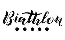 Texto de las letras del Biathlon en el fondo blanco, ejemplo Caligrafía del Biathlon Fotos de archivo