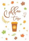 Texto de las letras del tiempo del café en el fondo blanco con las hojas de otoño, ejemplo del vector Fotografía de archivo libre de regalías