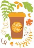 Texto de las letras del tiempo del café en el fondo con las hojas de otoño, taza de papel de la caída del café del vector Fotografía de archivo