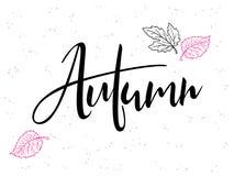Texto de las letras de la mano del vector sobre otoño con las hojas y los puntos del garabato Imágenes de archivo libres de regalías
