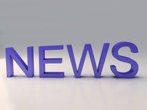 Texto de las noticias de la palabra en 3D Imagen de archivo libre de regalías