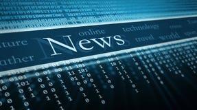 Texto de las noticias en perspectiva Fotografía de archivo libre de regalías