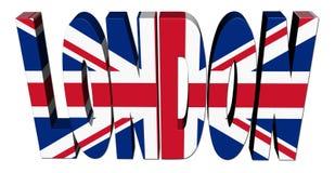 Texto de Londres com bandeira britânica ilustração stock