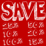 Texto de los ahorros del descuento Imagenes de archivo