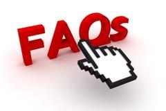 Texto de los FAQ con el cursor del ordenador Imágenes de archivo libres de regalías