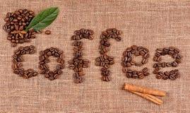 Texto de los granos de café imagen de archivo