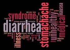 Texto de los síntomas Info de la diarrea Imágenes de archivo libres de regalías