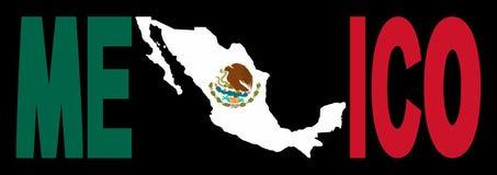 Texto de México con la correspondencia en indicador stock de ilustración