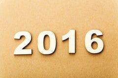 Texto de madera por el año 2016 Foto de archivo libre de regalías